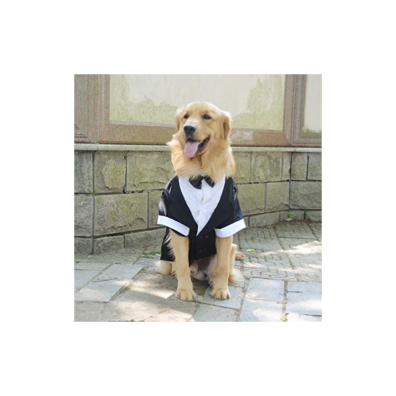 dog supplies online lovelonglong pet costume dog suit formal tuxedo with black bow tie for large dogs labrador clothing l-l