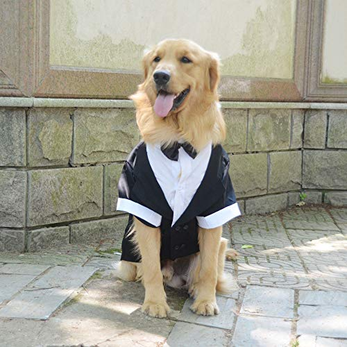 Lovelonglong Pet Costume Dog Suit Formal Tuxedo with Black Bow Tie for Large Dogs Golden Retriever Clothing L-XL