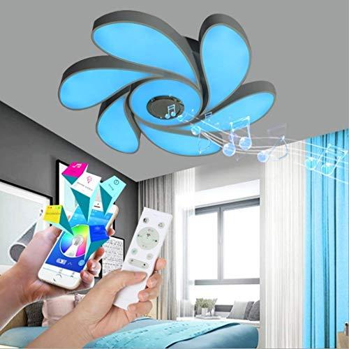 YUPIN Led-plafondlamp met bluetooth-luidspreker, muziek, plafondlamp met afstandsbediening, app-bediening, RGB-kleurverandering, 72 W, dimbare lichtjes, spraakbesturing, woonkamer, slaapkamer, restaurantlamp