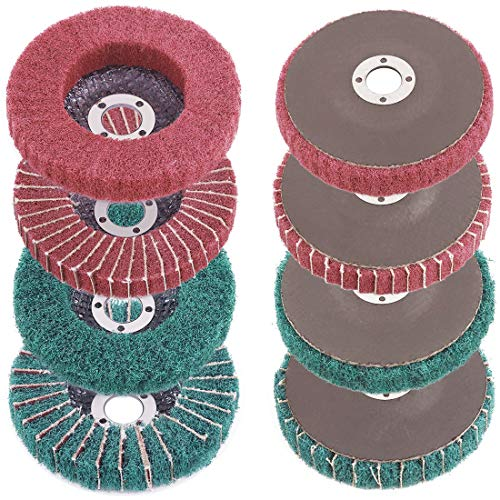 "Rustark 8 Pcs 4""Nylon Fiber Flap Disc Polishing Grinding Wheel Set, Scouring pad Buffing Wheel for Angle Grinder, Abrasive Sanding Wheels, Nylon Polishing Disc Kit (120/180/240/320 Grit)"