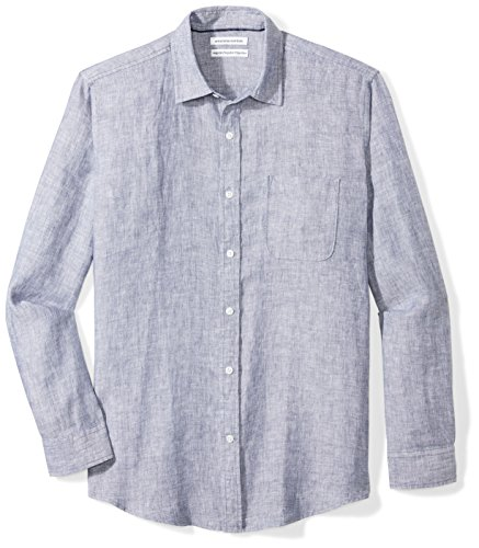 Amazon Essentials Men's Regular-Fit Long-Sleeve Linen Shirt, navy, Large
