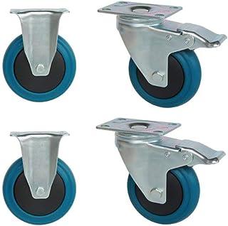 WaiMin Rubber Casters, Φ63/76/100/125mm (2.5/3/4/5 Inch) Meubelen Swivel Caster Vervangende Castor, Stille/slip Industriël...