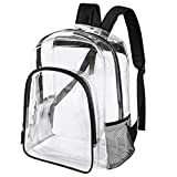Heavy Duty Clear Backpack Transparent See Through Plastic Bookbag for School, Work,Stadium,Travel,Security,Festival,College ( Black)