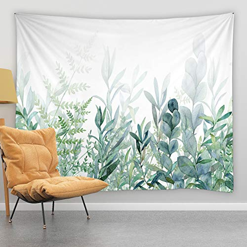jingjiji Watercolor Green Leaf Tapestry Rustic Green Plant Eucalyptus Spring Botanical Garden Branch Bouquet Dense Jungle Wall Hanging Tapestries Bedroom Living Room Polyester Fabric 80 x 60 Inch