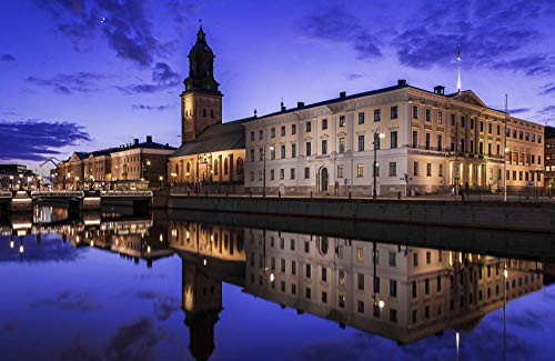 MX-XXUOUO Sverige Houses Rivers Evening Göteborg, 1 000 bitar träpussel – 75 cm x 50 cm