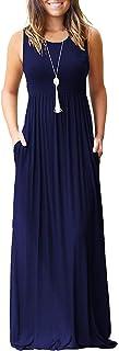 AUSELILY Vestido Largo Suelto sin Mangas de Verano para Mujer Vestido Largo Informal con Bolsillos
