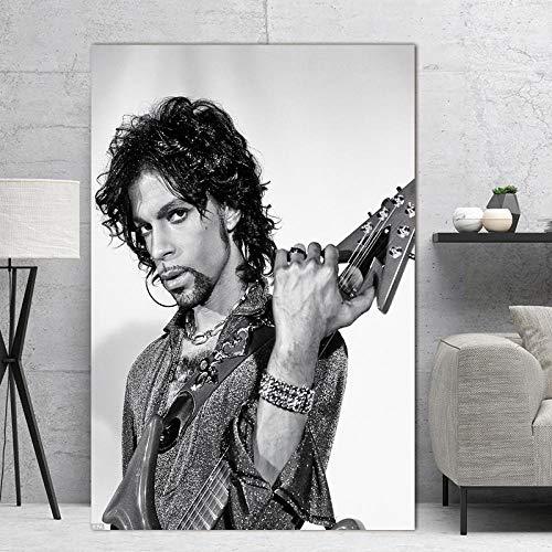 XuFan Musik Sänger Star Poster Und Drucke Prince Rogers Nelson Schwarz Weiß Rock Kunst Malerei Wandbilder Für Wohnzimmer Wohnkultur 60cm x90cm Kein Rahmen
