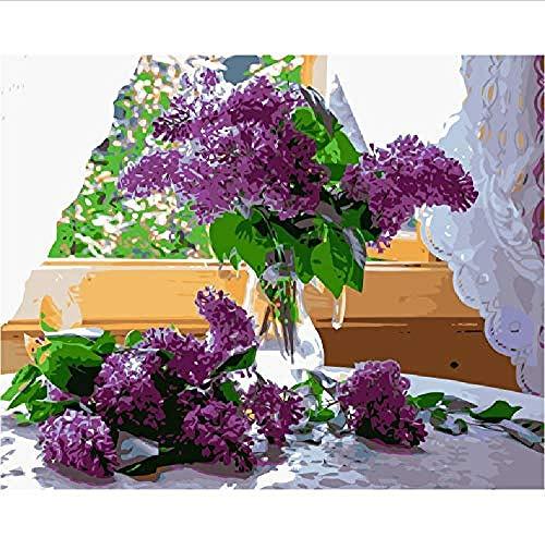 Houten puzzel 1000 stuk voor volwassenen 3D klassieke puzzel Vensterbank Lilac Flower Brush Craft Diy Educatieve puzzel Home Decor Uniek cadeau-75X50Cm