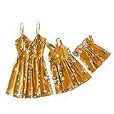 IFFEI Mommy and Me Matching Dress Bikini Dress Hollow Out Strap Beach Sleeveless Dress 12-18M Orange