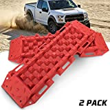 BUNKER INDUST Recovery Traction Boards Tracks Traction Mat for Off-Road 4X4 Mud, Sand, Snow-2 Pcs Red Track Tire Ladder