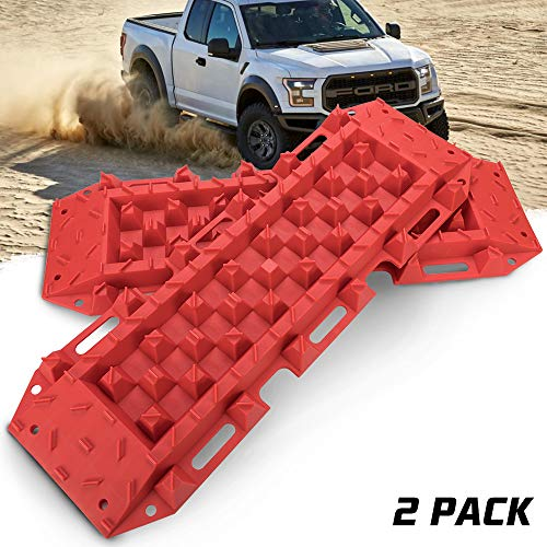 BUNKER INDUST Traction Tracks Mat, 2 Pcs Traction Boards Recovery Tool for Off-Road 4X4 Mud, Sand, Snow-Red Track Tire Ladder