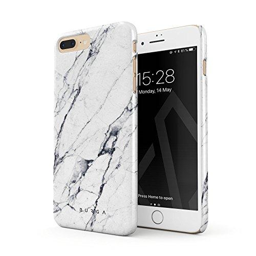 BURGA Hülle Kompatibel mit iPhone 7 Plus / 8 Plus - Handy Huelle Licht Weiß Marmor Muster White Marble Mädchen Dünn Robuste Rückschale aus Kunststoff Handyhülle Schutz Case Cover