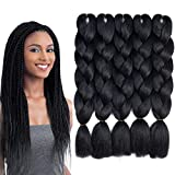 Jumbo Braiding Hair 5 Packs Kanekalon Braiding Hair Extension for Braid Black...