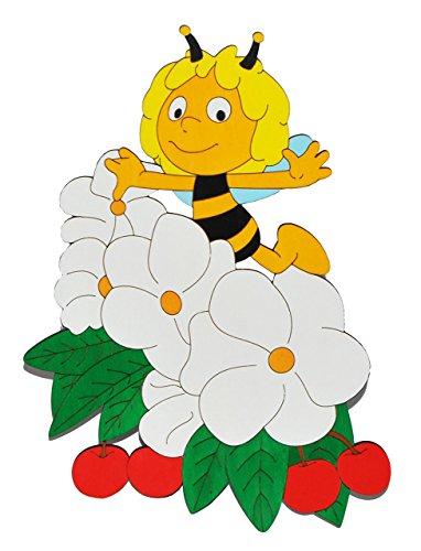 alles-meine.de GmbH XL - Türschild / Wandbild / Wandtattoo - die Biene Maja mit Kirsche und Blume - aus Holz - selbstklebend - Kinderzimmer Deko Bilder / Aufkleber Wandsticker Wa..