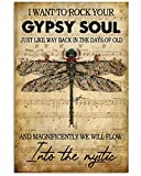 Dragonfly Hippie Life Style Gifts I Want To Rock Your Gypsy Soul Wall Art Hanging Poster Painting Canvas Paper Photography Abstract Watercolor Living, Bedroom, Home Decor, No Frame (24'x36')