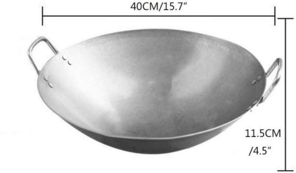 AMYZ Woks,Iron Wok Performance Woks Oreilles Iron Wok avec Deux poignées Non revêtues,40CM 40cm