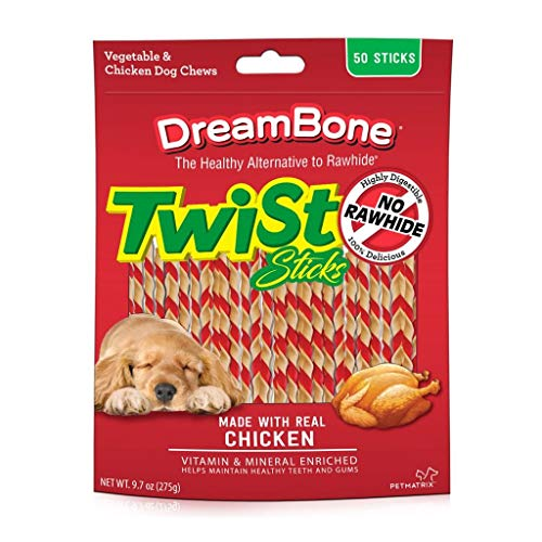 DreamBone Twist Sticks, Rawhide-Free Chews for Dogs, with Real Chicken (Pack of 4, Real Chicken)