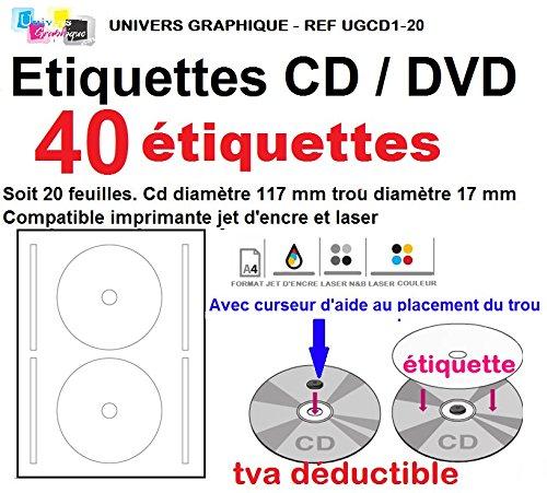 20 de hoja de 2 etiquetas de CD/DVD etiquetas Adhesivos adhesivo diámetro 117 mm Hojas de impresora láser y de inyección de tinta