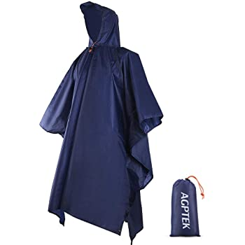 AGPTEK Reusable Rain Ponchos with Hood & 1 Pouch for Adults, Hiking, Camping