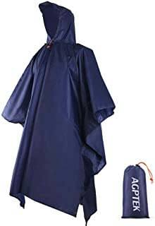 Reusable Rain Ponchos with Hood & 1 Pouch for Adults, Hiking, Camping