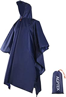 AGPTEK Rain Ponchos with Hood & 1 Storage Bag, Waterproof Reusable Raincoat with Drawstring Hood & Elastic Sleeve for Adults, Men, Women,Outdoor Concert,Sports,Hiking,Camping,Motorcycle