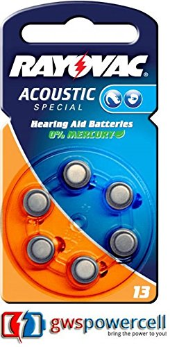Rayovac Acoustic Special Hörgeräte Batterien 1,4V 310mAh PR48 Typ 13 - 6er Blister (Nr. 13 Acoustic Special 6er Blister, 1x)