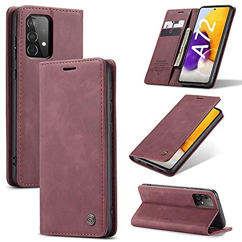KONEE Funda Compatible con Samsung Galaxy A72, [Ranuras para Tarjetas] [Soporte Plegable] Magnético Carcasa Premium PU Cuero Flip Folio Carcasa para Samsung Galaxy A72 - Vino Tinto