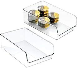 InterDesign Linus Kitchen, Pantry, Refrigerator, Freezer Storage Container, Large, 2 Pack, Clear