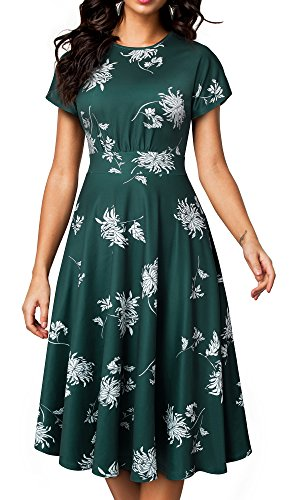 HOMEYEE Women's Short Sleeve Floral Casual Aline Midi Dress A102(8,Green)