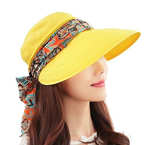 Yimidear Yimidear® Faltbare Sommer Sonnenhut Weiblicher Hut Baseball Kappe Frauen Anti-UV Hut (Yellow)