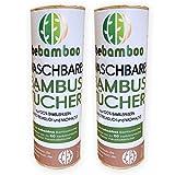 2er Set yabamboo Bambus Küchenrolle Waschbare Bambustücher Saugstarke und Reißfeste