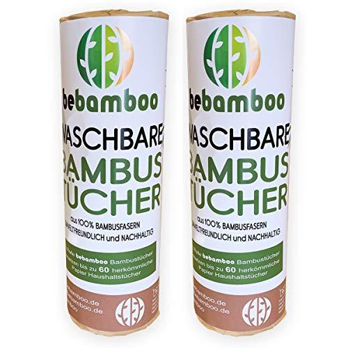 2er Set yabamboo Bambus Küchenrolle Waschbare Bambustücher Saugstarke und Reißfeste Haushaltstücher küchenrolle Wiederverwendbar 100% Biologisch abbaubar Papiertücher schnelltrocknend