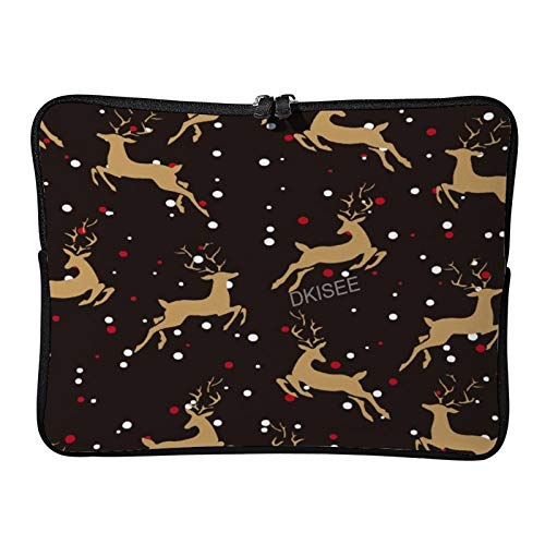Lplpol Merry Christmas Laptop Sleeve for Women Men, Compatible with 10 Inch MacBook Air/MacBook Pro Notebook Two-way Zippers Laptop Carrying Bag Case Cover