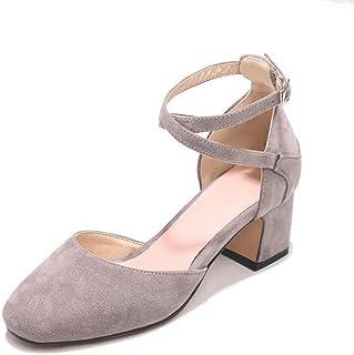 BalaMasa Womens ASL06301 Pu Block Heels