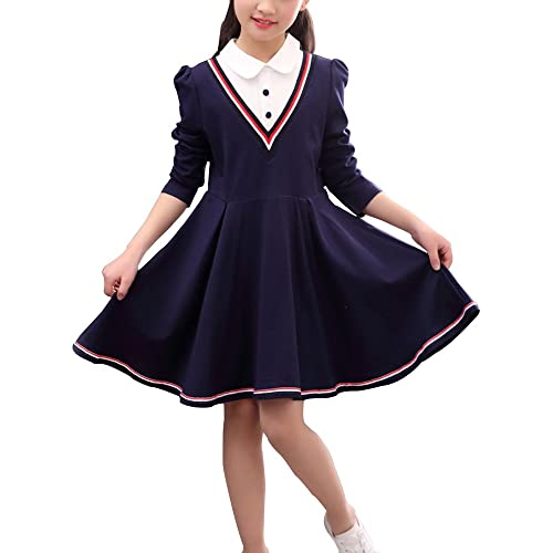 aa7fa3c3c7988 Gooket Kids Girls' Dress School White Collar Long Sleeve Striped Size 3-11  Years