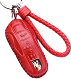 WAFERN Red alfskin Genuine Leather Car Remote Key Fob Case Holder Cover Shell with Braided Key Chain & Key Rings Fit Porsche Cayenne Panamera 911 Smart Key Gifts