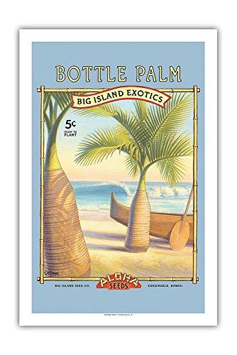 Pacifica Island Art - Flaschenpalme - Aloha Samenkörner - Big Island Saatgut-Unternehmen - Die Exoten des Big Island - Retro Saatpaket von Kerne Erickson - Giclée Kunstdruck 61 x 91 cm