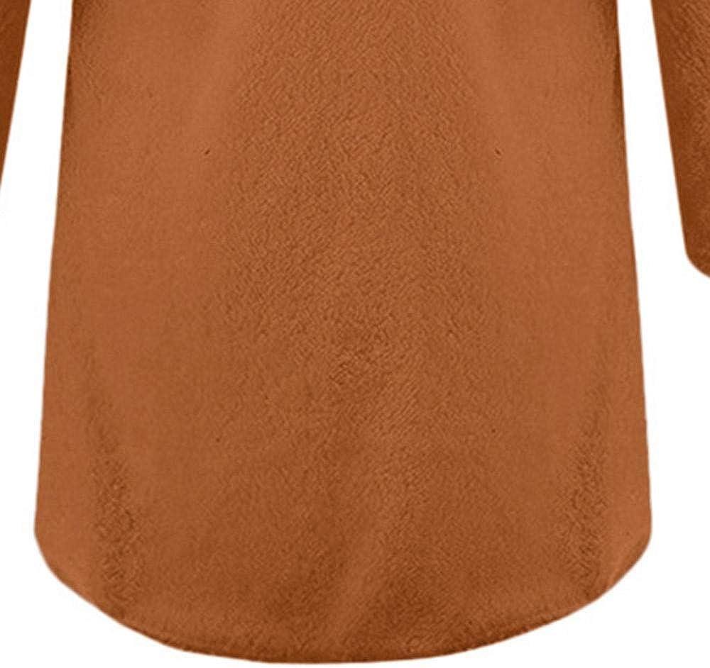 YBIRAL Damen Mantel, Herbst Winter Damen Cardigan Mantel Plüsch Jacke Casual Einfarbig Langarm Outwear Winterjacke Mode Coat Übergangsjacke Braun