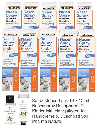 Nasenspray Ratiopharm Kinder 10er Sparset - inkl. einer Handcreme o. Duschbad von Pharma Nature