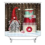 Christmas Shower Curtain for Bathroom, Xmas Cartoon Gnome Gift Bathroom Shower Curtain Set, Funny Christmas Snowman Shower Curtain Fabric Polyester with Hooks (72x72 Inch) (S20)