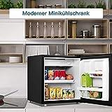 COSTWAY 48L Mini Kühlschrank Kühl-Gefrier-Kombination Flaschenkühlschrank Getränkekühlschrank mit Gefrierfach/wechselbarer Türanschlag / 7 Temperaturstufe einstellbar / 49cm Höhe (Schwarz) - 2