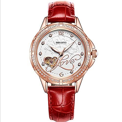 HYLK Reloj Automático, Reloj Mecánico, Cinturón/Cerámica, Simple Temperamento Estudiante Damas 30m Vida Impermeable Reloj Multicolor, Damas (Color: Rojo)