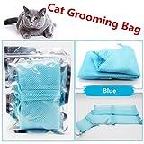 Escomdp Sac de toilettage pour chats Outils de lavage Sachet de bain de contention pour couper les ongles (Bleu)