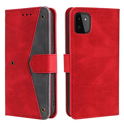 HOUSIM Hülle für Samsung Galaxy A22 5G Handyhülle mit Kartenfach Klappbar Schutzhülle Leder Tasche Flip Hülle für Samsung Galaxy A22 5G - HOHHA180518 Rot