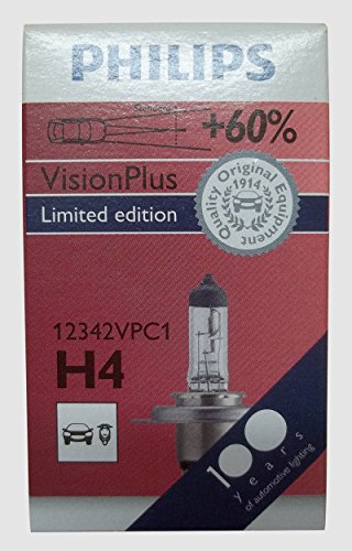 Philips 12342 vpc1 60/55 w, ampoules de phare vision h4 plus de 60% de lumière p43t - 38 12 v