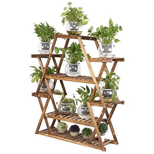 Scaffale per piante in legno, a 6 ripiani, per vasi da fiori, per interni ed esterni, per patio, giardino, balcone, soggiorno