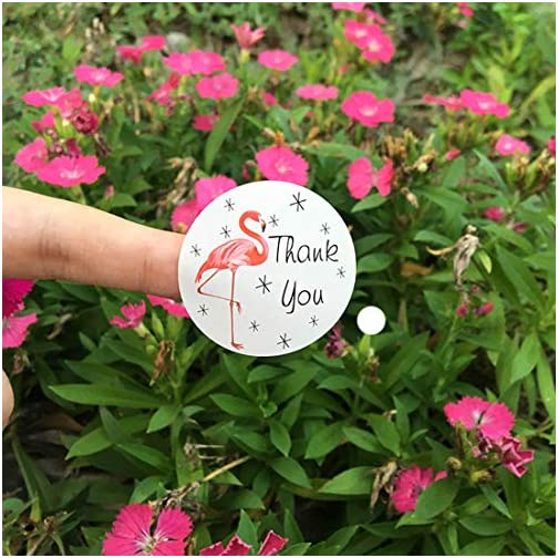 """SKYSTARS 1000 Pack Flamingo Thank You Stickers - Large Round 1.5"""" Adhesive Label for Party Bags, Wedding Favors, Baby Showers - Personal and Business use - 84 Sheets 
