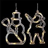 SOLUSTRE 2PCS Di Natale Appeso 3D Luci LED Luci Leggiadramente Di Natale Luci Della Stringa Finestra Appeso Ornamento Luce con La Tazza di Aspirazione per Partito Decor Nessuna Batteria