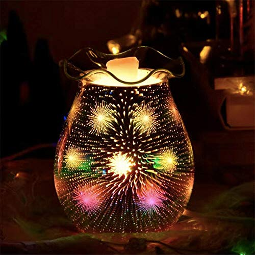 SUNJULY Duftlampe für Wachs, elektrisch, 3D, Glas, elektrisch, Duftlampe für Nachttischlampe, Wohnzimmerlampe, Schlafzimmer, Schreibtischlampe, Mondlampe, Geschenk