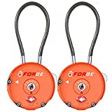 Forge Quality TSA Approved Luggage locks for travel accessories, suitcase, pelican case, set your own combination, Zinc Alloy Body-Cable Locks Orange 2 locks